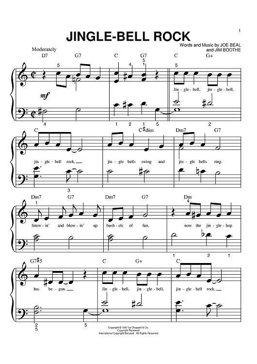 Piano Notes Letters Jingle Bell Rock