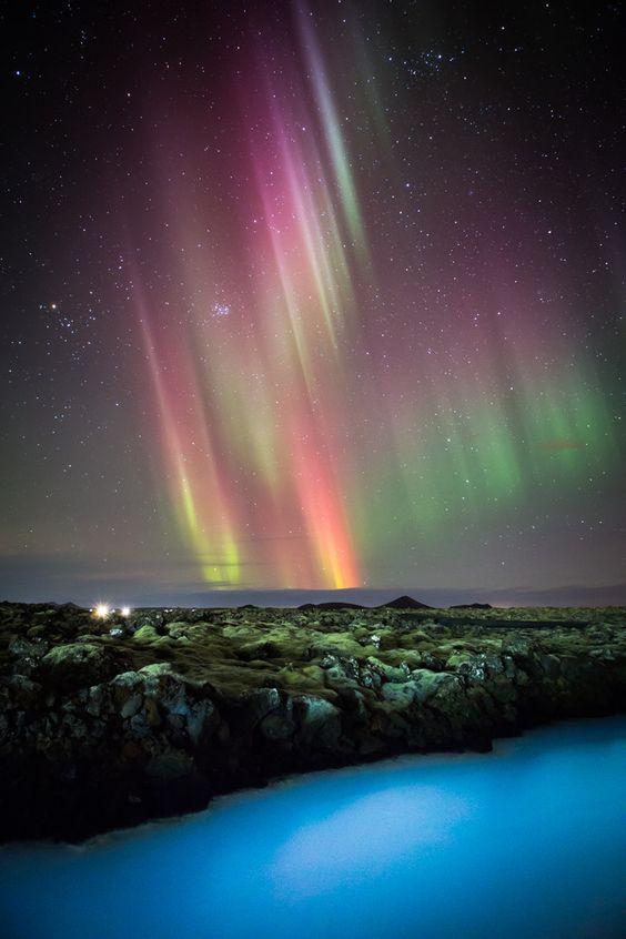 Blue Lagoon And Northern Lights