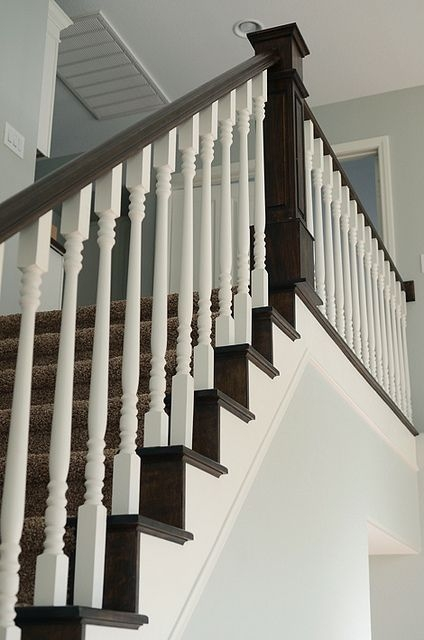 This Is A Gorgeous Staircase Love The Contrast Of The | Redoing Stairs With Wood
