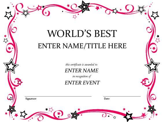 Science Worlds Greatest Teacher Award Printable