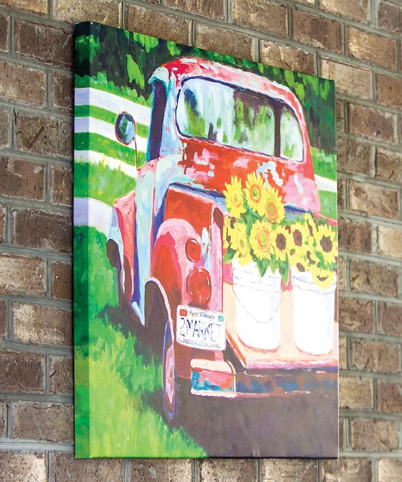 Lighted Canvas With Old Truck