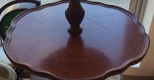 Antique Vintage Round Mersman Mahogany Wood 2 Tier Pie