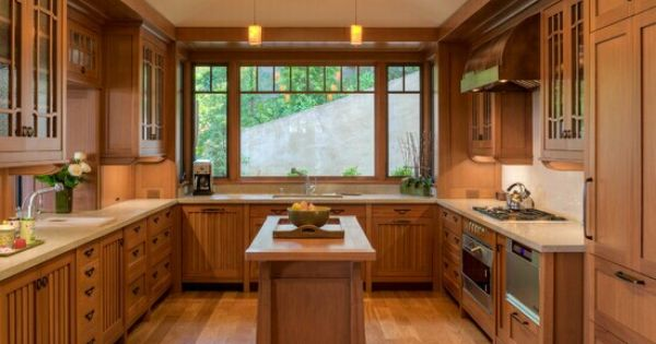 U Shaped Kitchen Natural Wood Beadboard Cupboard Doors