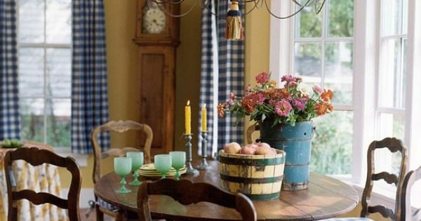 Blue And Gold Country Dining Room French Country