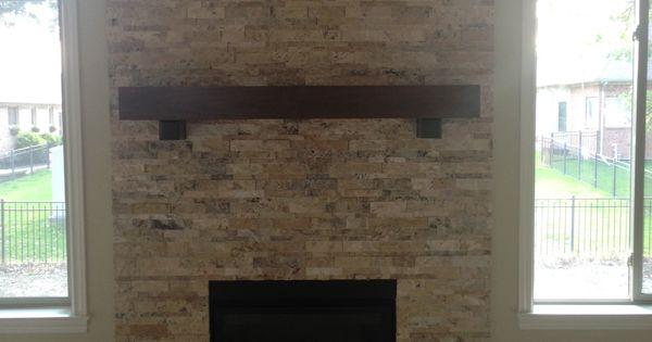 Travertine Stacked Stone Fireplace My Designs