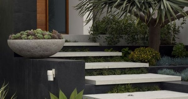Tim Davies Landscaping Love These Floating Concrete Steps And   Floating Concrete Steps Designs   House   Sidewalk   Front Door   Stair Railing   Backyard