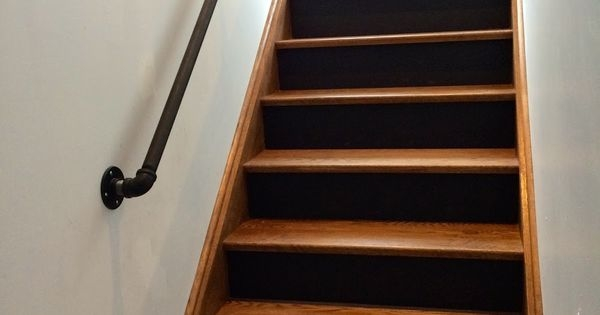 Gas Pipe Railing Walnut Stairs Black Risers Gas Pipes | Gas Pipe Stair Railing