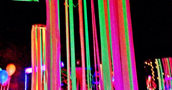 Neon Flagging Tape On Hulla Hoop Glow Party Decoration