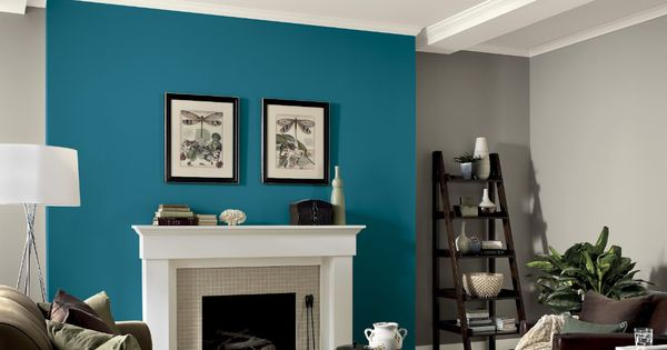 Gray Walls With Teal Fireplace Accent Wall Iowa Home