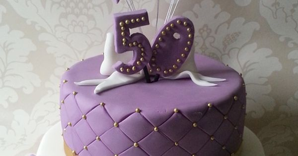 Two Tier Purple White And Gold 50th Birthday Cake