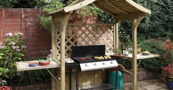 Garden Bbq Shelter Arbour Seat Outdoor Patio Bench Grill