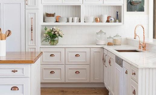 Amazing Kitchen Features White Raised Panel Cabinets