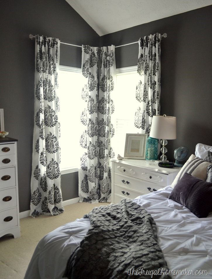 Master Bedroom Update Diy Stenciled Curtain Panels Wall