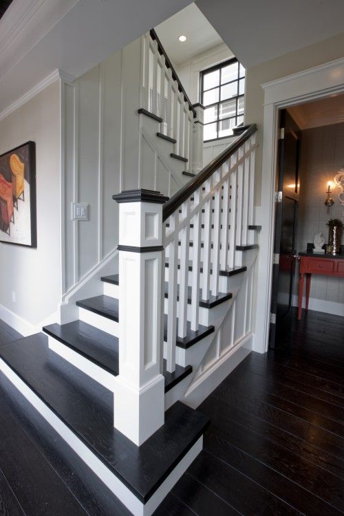 Replace Carpet With Dark Wood Floors And Paint Railing