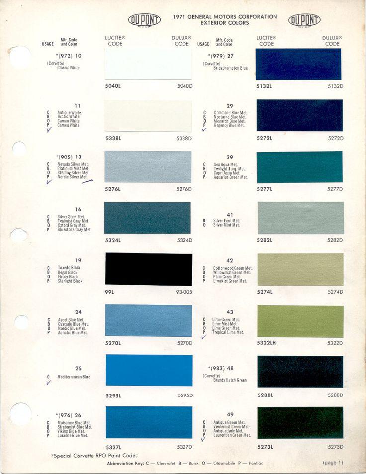 1969 Corvette Color Codes