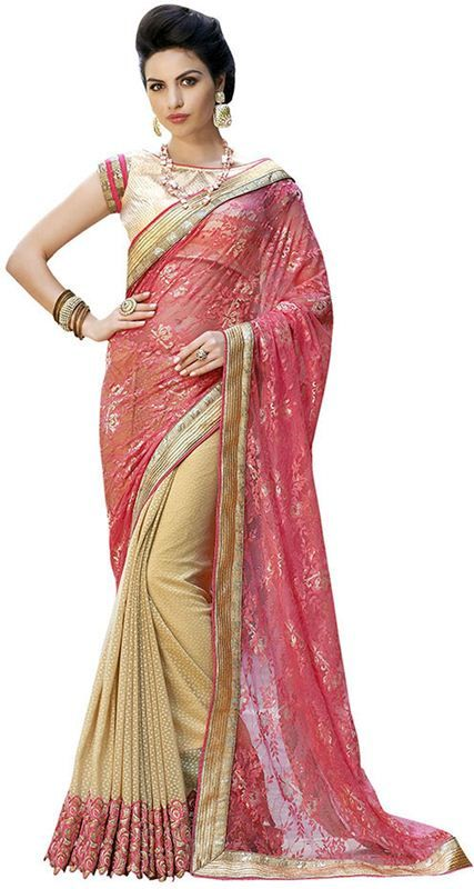 Butti Red Border Work Heavy Bridal Saree