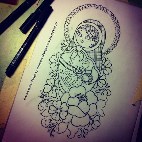 Nesting Tattoo Russian Doll Upper Arm