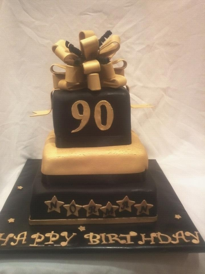 Black And Gold 90th Birthday Cake Food Amp Drink