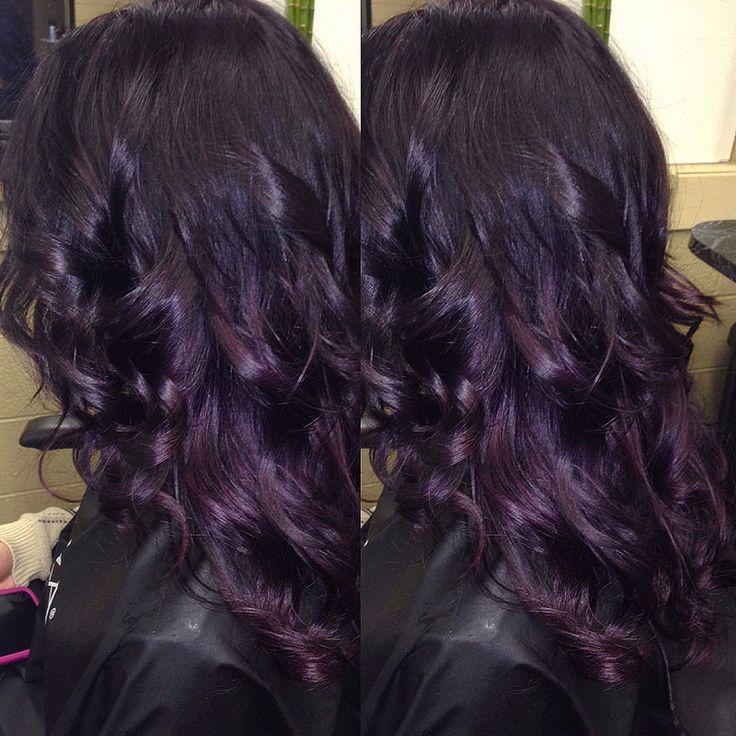 Kim's gorgeous dark violet to deep plum hair | My Hair ...