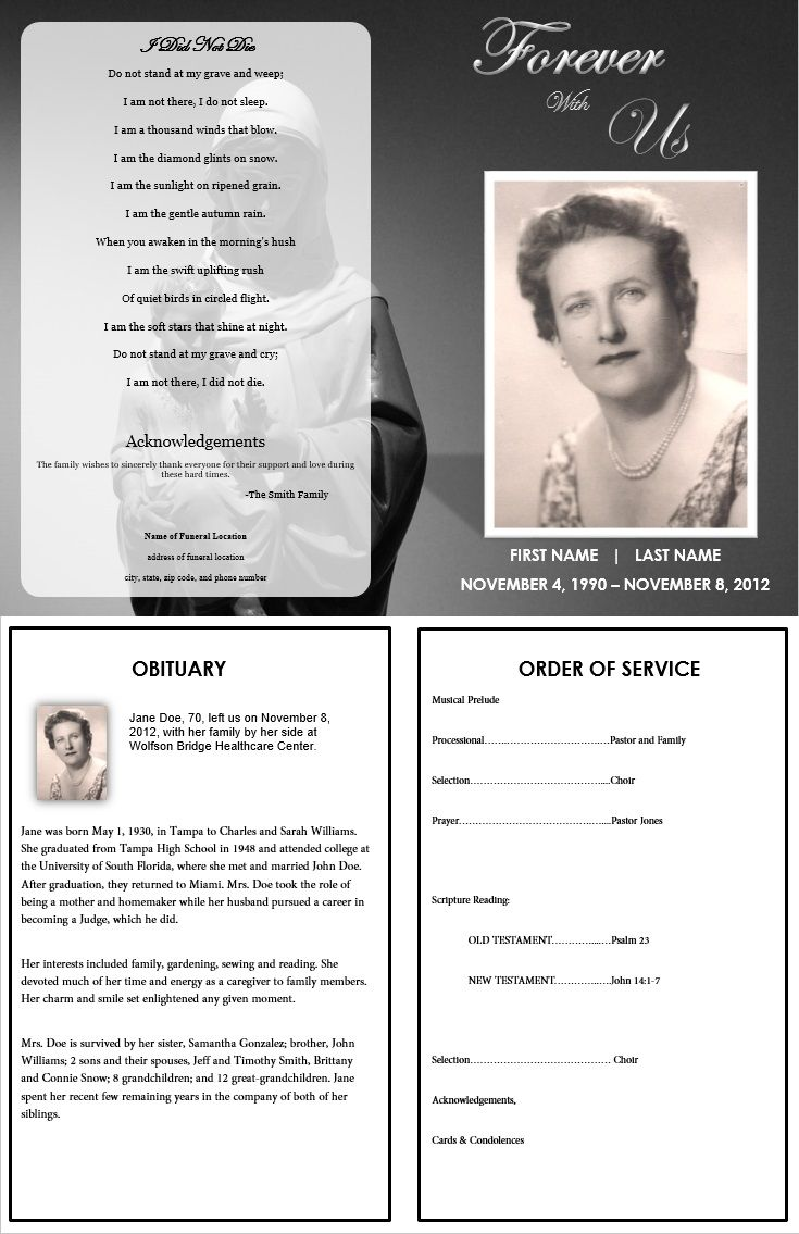 Spanish Memorial Cards Funeral Service