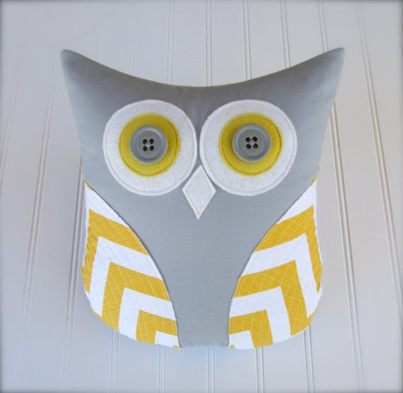 Yellow Grey Decorative Pillow And Chevron