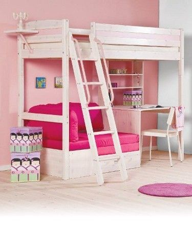 Bed And Desk Combo Teens Trendy 28 Whitewash Loft Bed