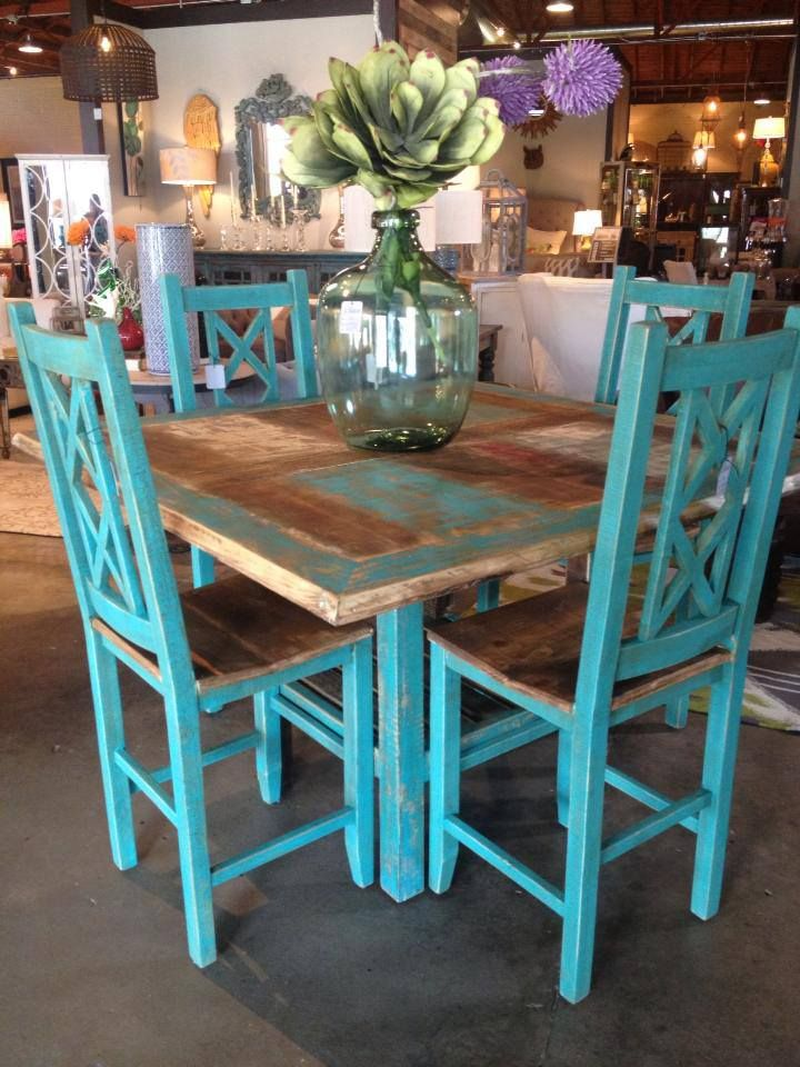 Square Dining Table Turquoise Counter Height Stools