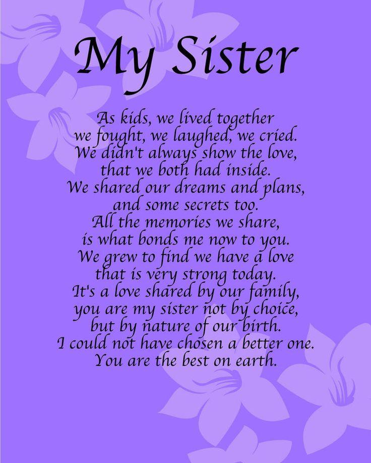 I Love My Big Sister Poems