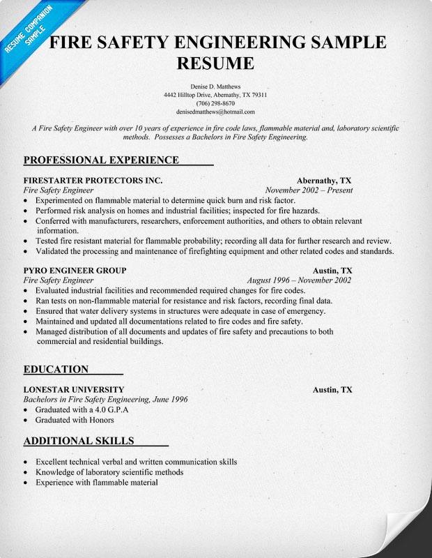 Fire Safety Engineering Resume Sample Resumecompanion