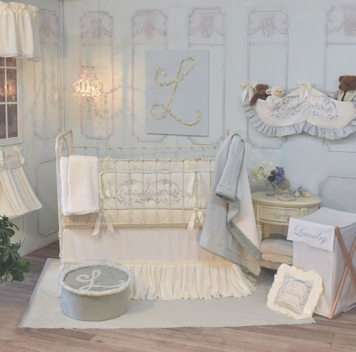 285 Blue And Cream French Farmhouse Inspired Crib Bedding