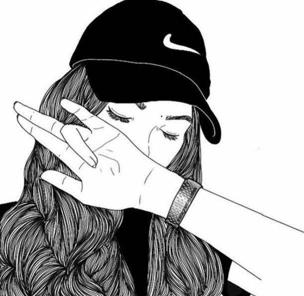 Outline Drawings Tumblr Girl Best Friends Nike