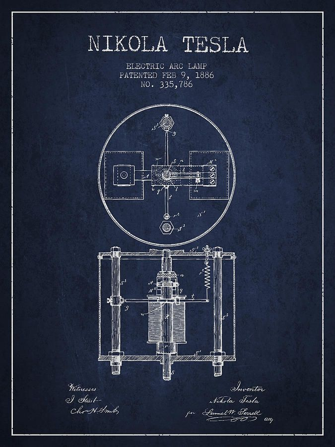 Nikola Tesla Patent Drawing From 1886 Navy Blue Art