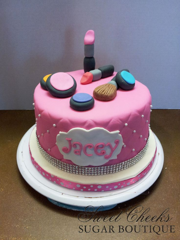 A Makeup Themed Cake For Jacey Happy Birthday Sweet