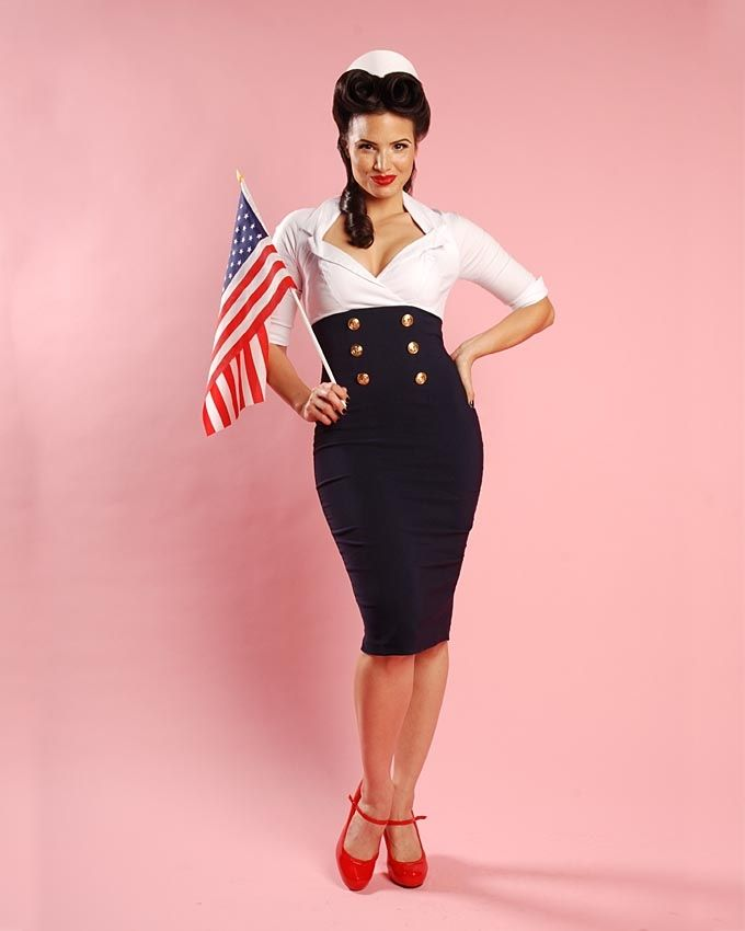 Pinup Girl Clothing | Military Secretary Dress in White ...