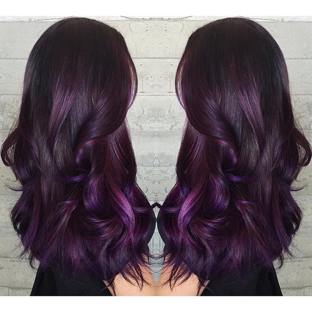 Purple hair color Purple ombre hairpainting long hair long ...