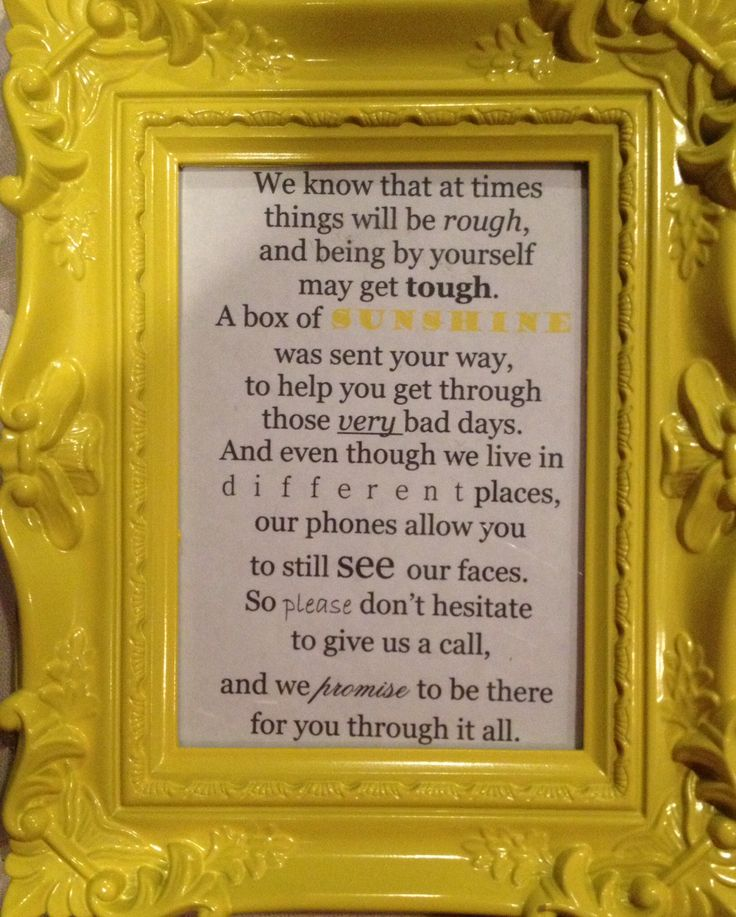 Quot Box Of Sunshine Quot Personal Poem Created Homemade Gifts