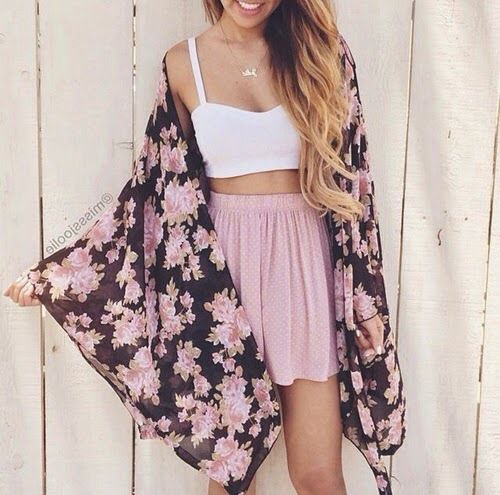 Pink Flower Hippie Outfit