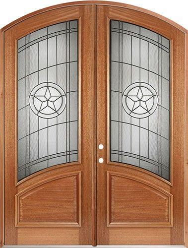 80 Mahogany Arch Top Double Door Curved Texas Star Front Entry Door From Door Clearance Center