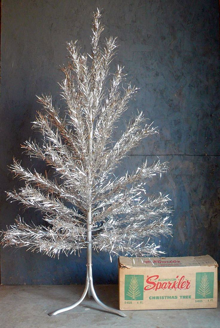 Antique Silver Christmas Tree With Color Wheel