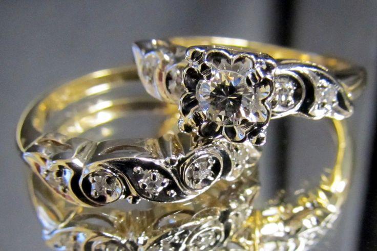 1950 S Vintage Diamond Engagement Ring Amp Wedding Band Bridal Set Illusion Yellow Gold