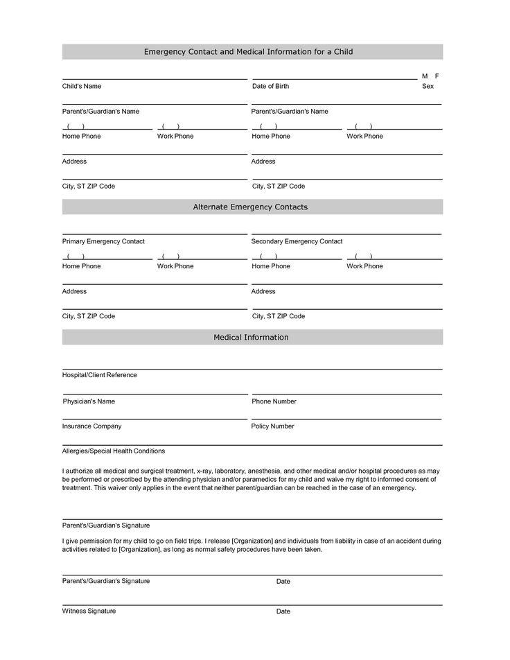 Student Information Sheet Printable