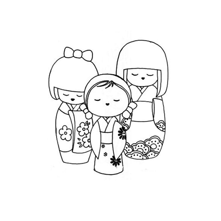 Japanese Kokeshi Dolls Coloring Pages