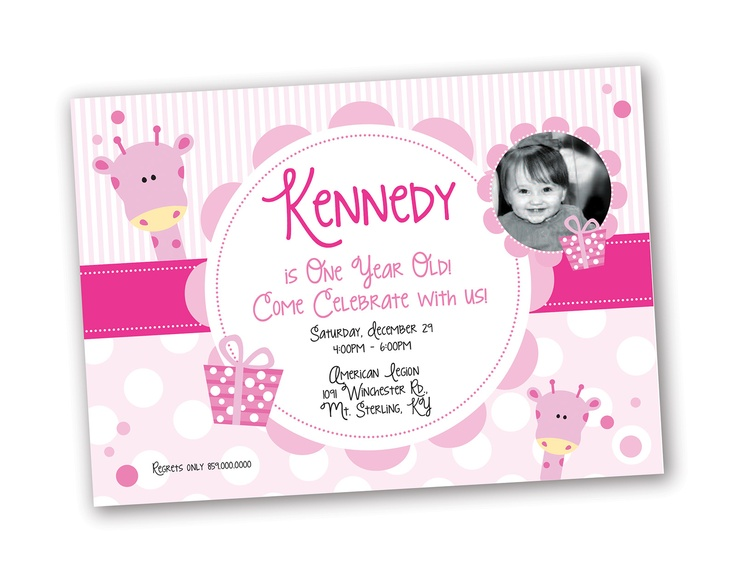 Year One Girl Old Invitations Birthday