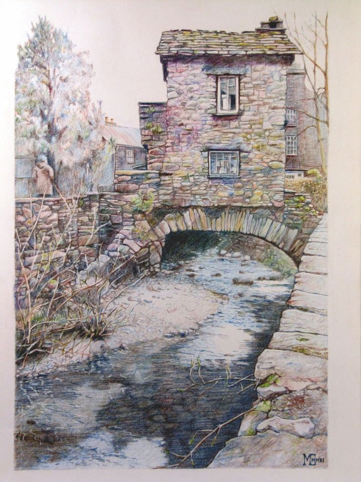 Drawing Colored Pencil River