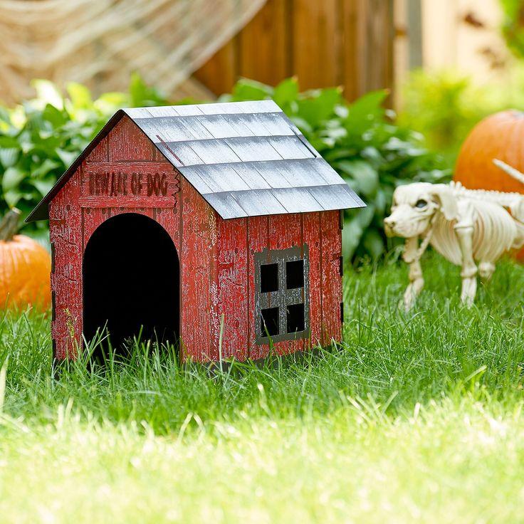 Beware Of Dog Halloween Skeleton Dog House Halloween