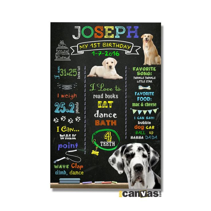 Dog Chalkboard Poster Sign Puppy Dog First Birthday Sign