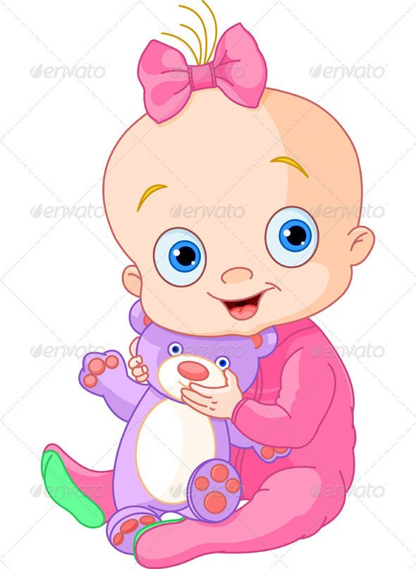 Cartoon Baby Clip Art Girl