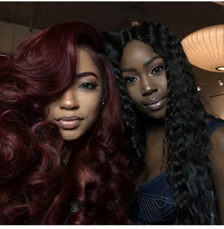 Dark Burgundy Hair Black Skin