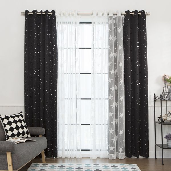 Aurora Home Mix And Match Curtains Blackout Tulle Lace