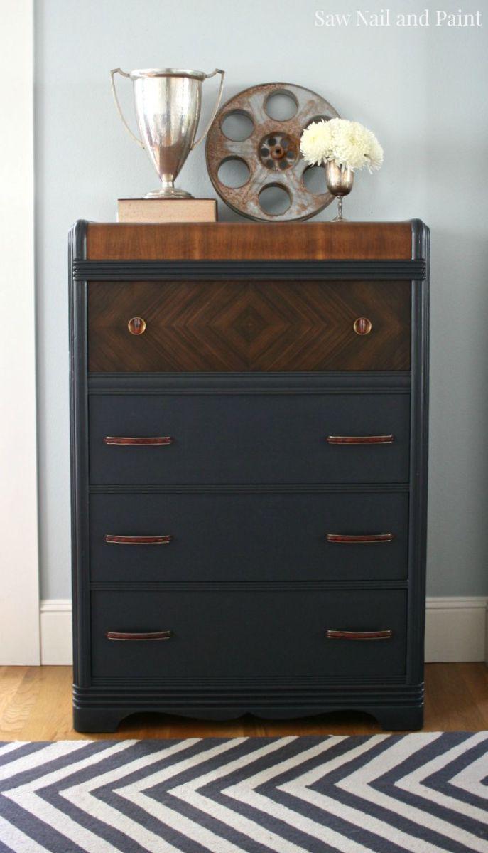 Dark Wood Tall Dresser